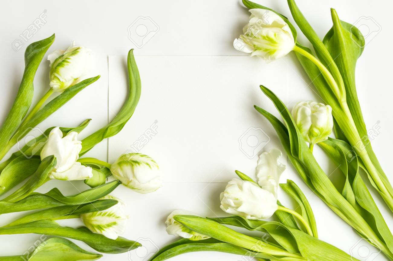 Letter And Fresh Bouquet On White Background. Wedding Invitation ...