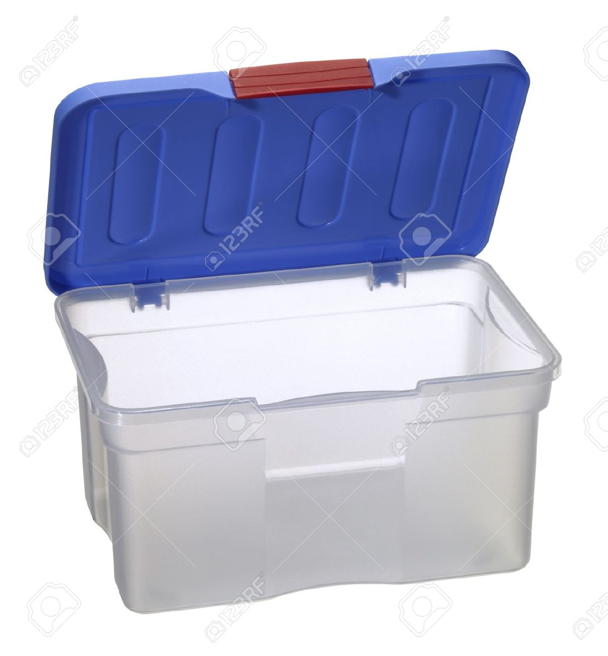studio photography of a translucent plastic box with open blue top isolated on white with clipping path Stock Photo - 10840010