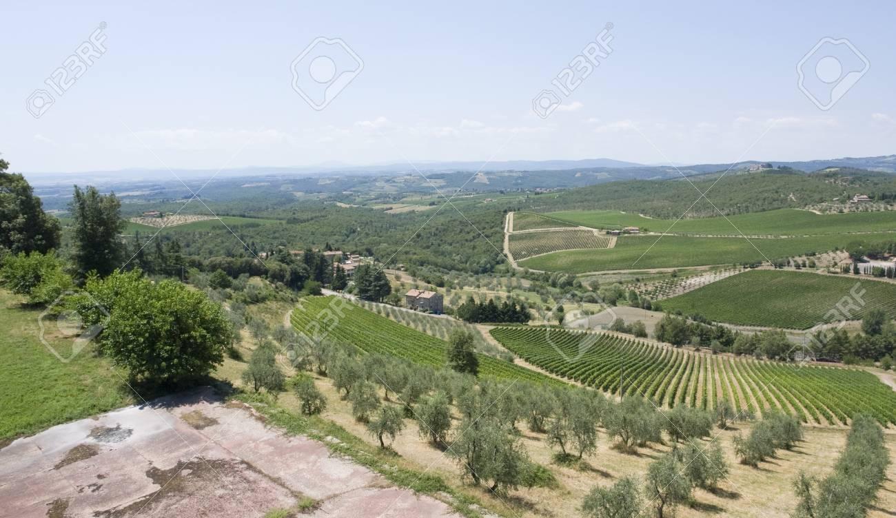 scenery around Gaiole near Castle of Brolio in the Chianti region of Tuscany in Central Italy Stock Photo - 10863374