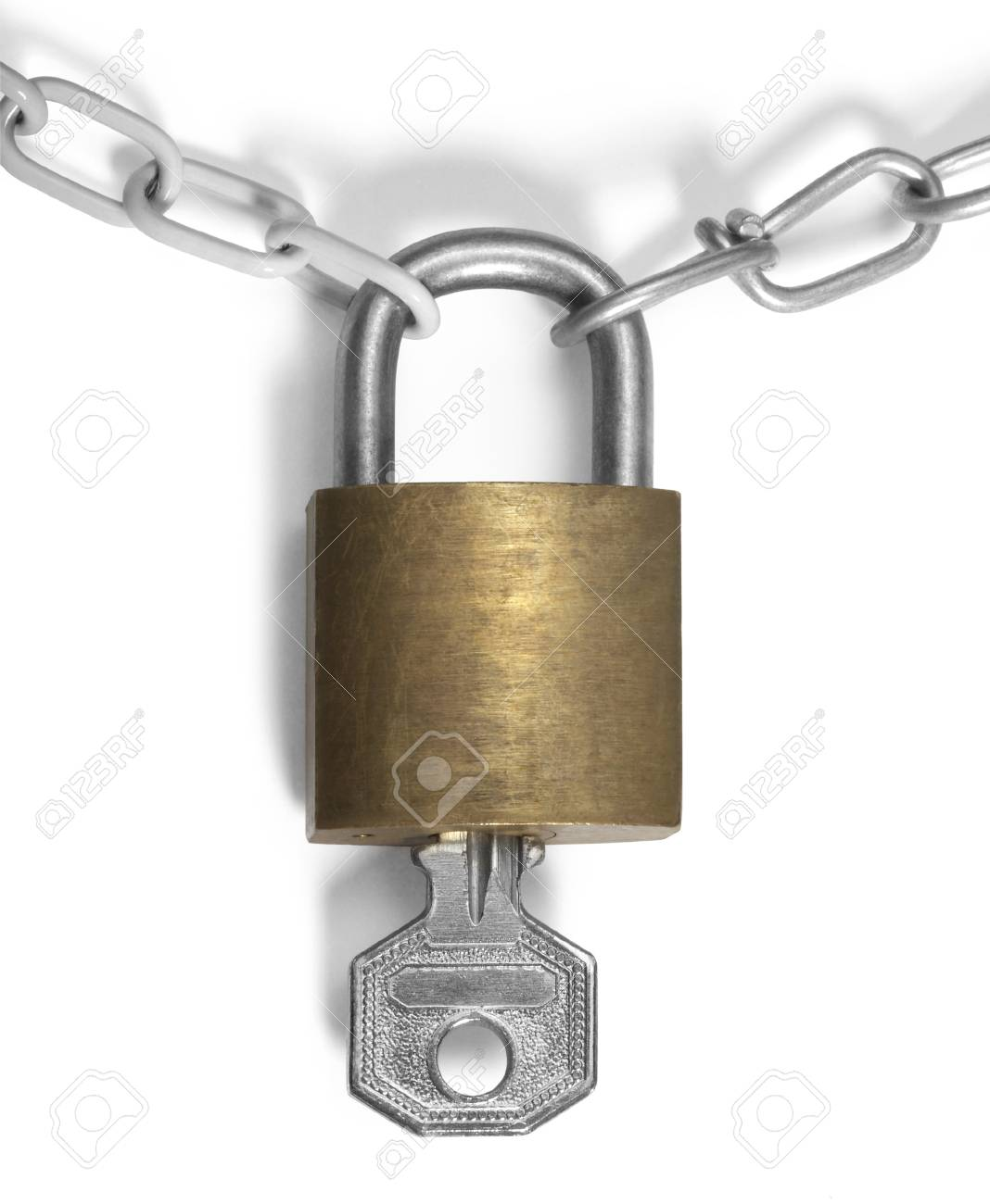 studio photography of a padlock and chains Stock Photo - 10914508