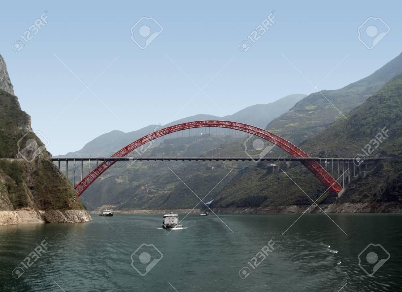 sunny scenery along the Yangtze River in China including bridge and ships Stock Photo - 10968486