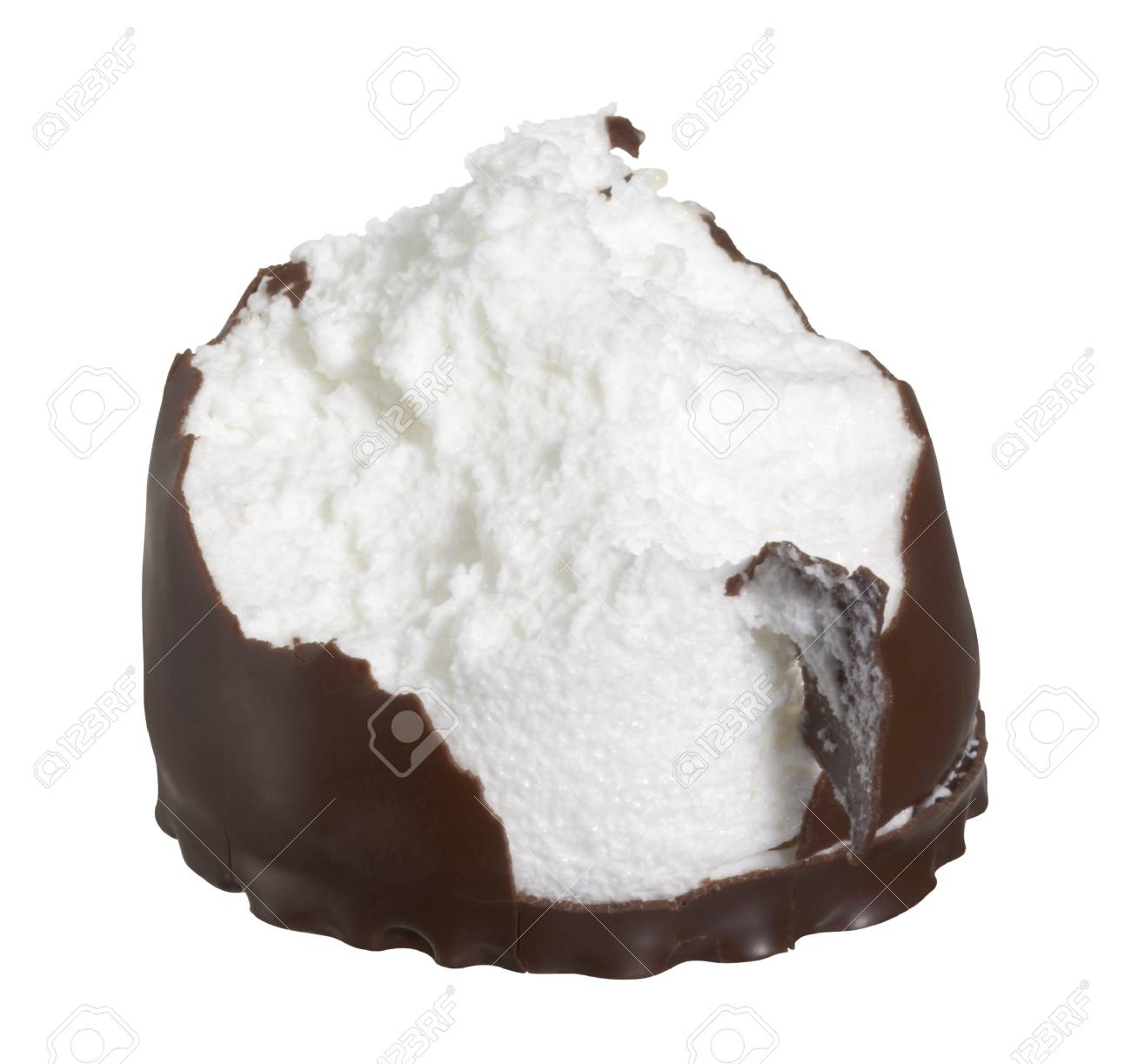 bite chocolate coated marshmallow in white back Stock Photo - 10917437