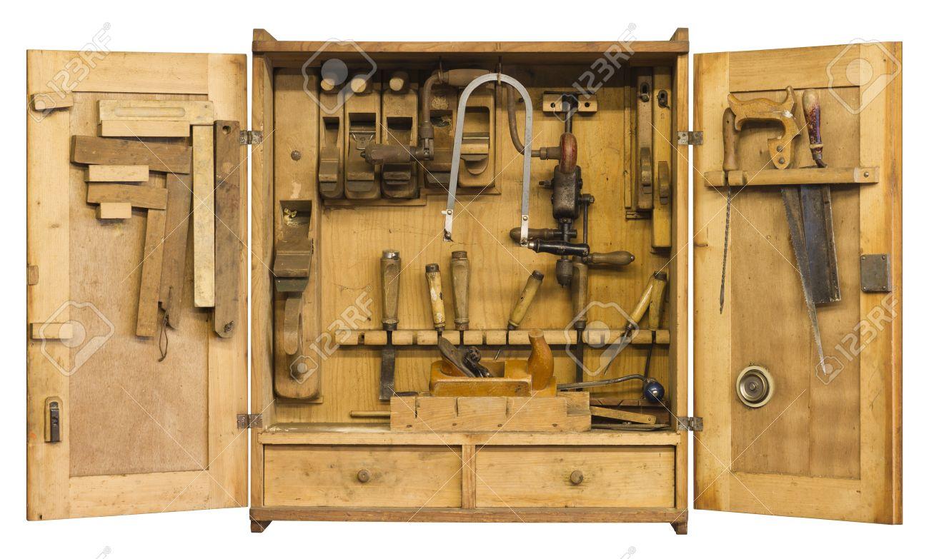 Alte Historische Werkzeugschrank Gefüllt Woth Holzbearbeitung Tools ...