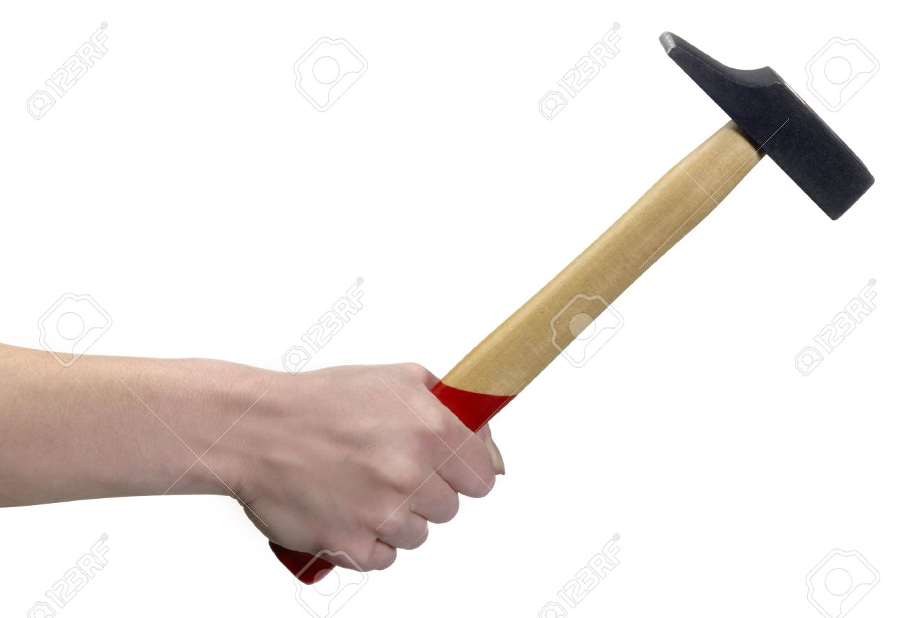 hand holding a hammer in front of white back Stock Photo - 11013760