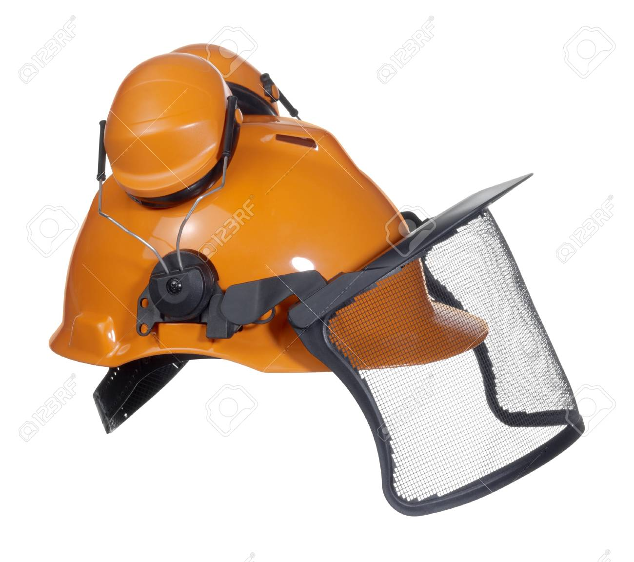 d5767db6 a orange protective helmet with ear- and face- protection. Studio shot in  white