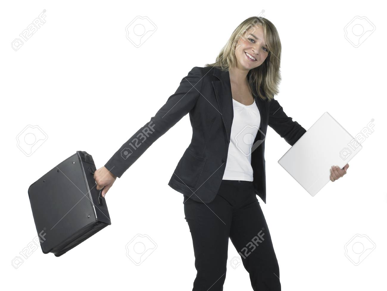 Studio photography of a young smiling business woman with dispatch case isolated on white Stock Photo - 11399140
