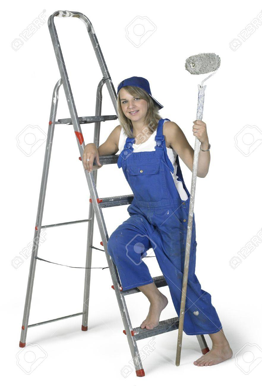 Studio photography of a blond girl dressed in a blue boilersuit with painting utensils and ladderin white back Stock Photo - 11399152
