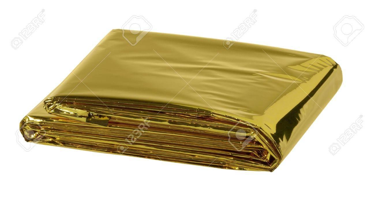 reflective space blanket on white background Stock Photo - 13490878