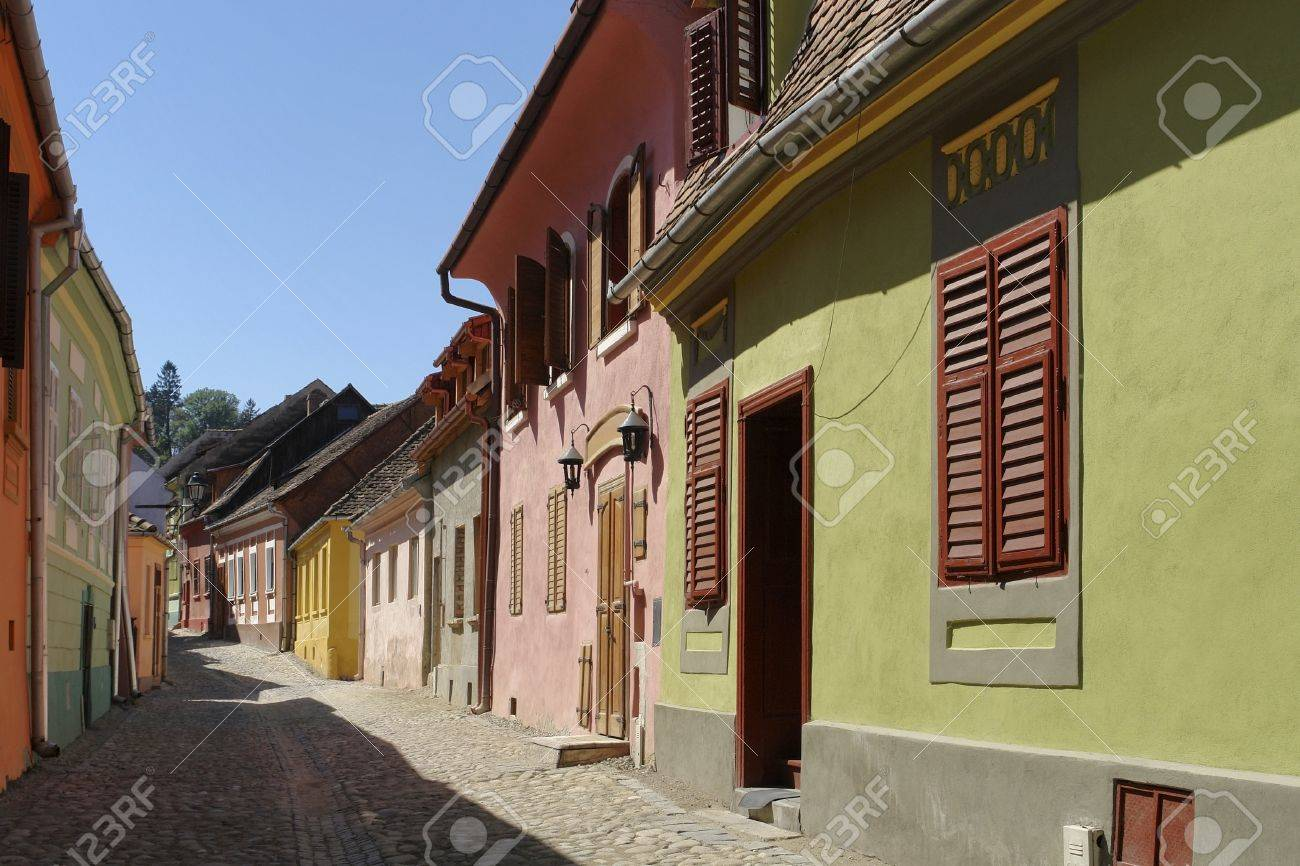 street scenery in Sighisoara, a city in Transylvania located in Romania Stock Photo - 15276126