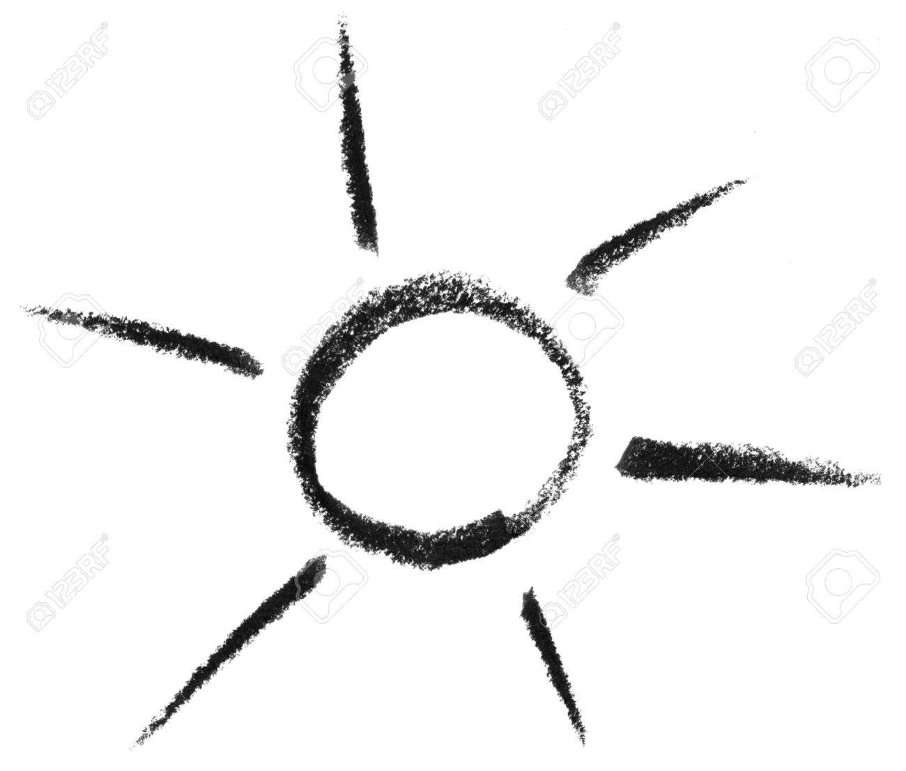 Kreide Gemalte Sonne Oder Licht-Symbol In Weiß Zurück Lizenzfreie ...