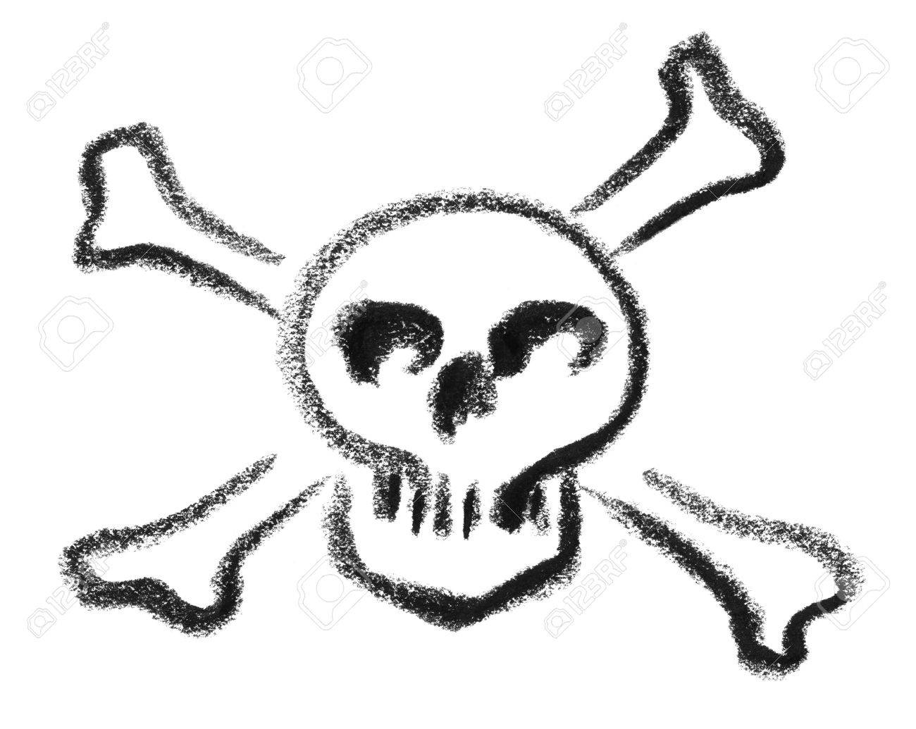 Crayon Painted Skull With Crossed Bones As A Danger Symbol In