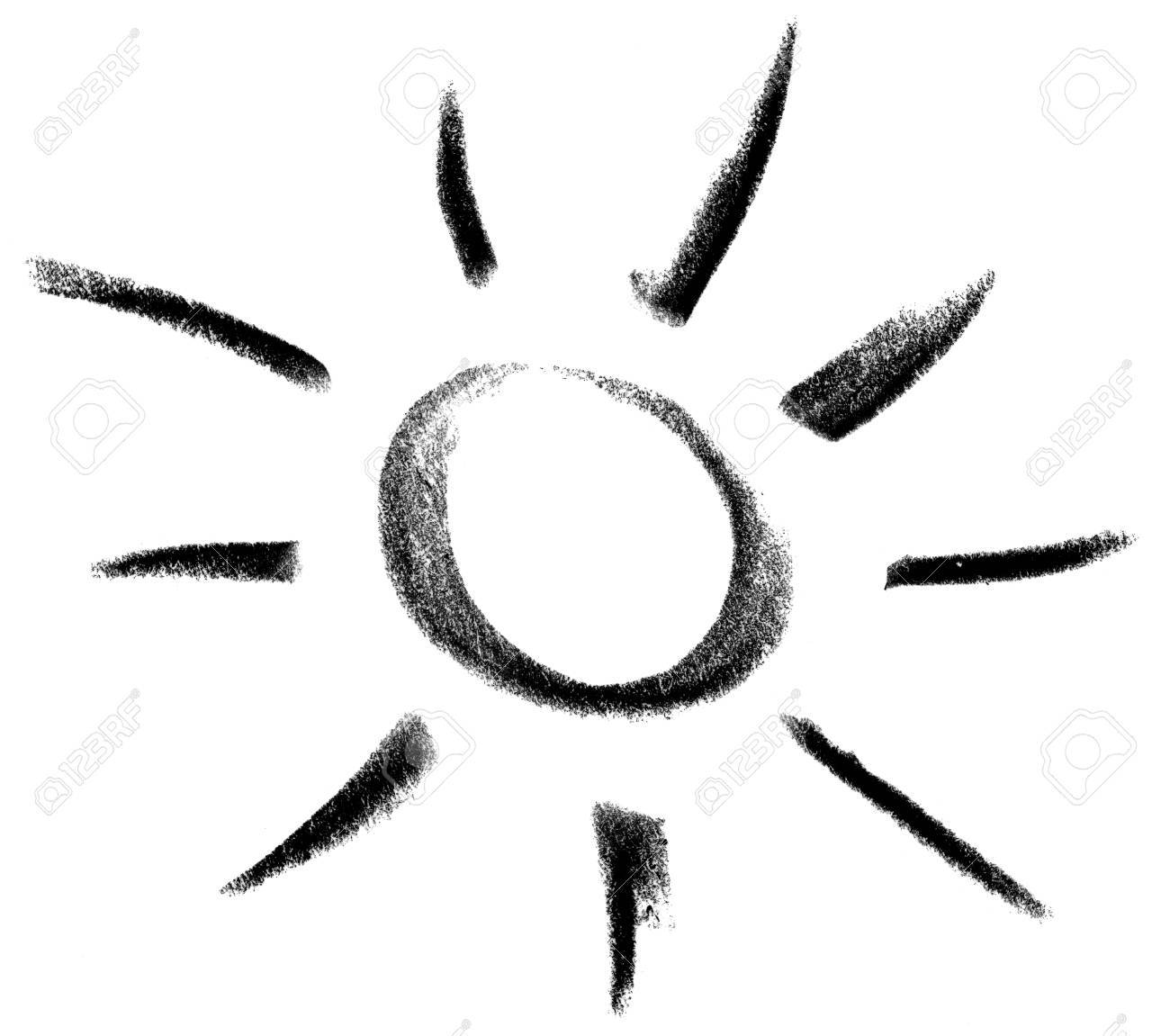 Kreide Gemalt Sonne Oder Licht-Symbol In Weiß Zurück Lizenzfreie ...