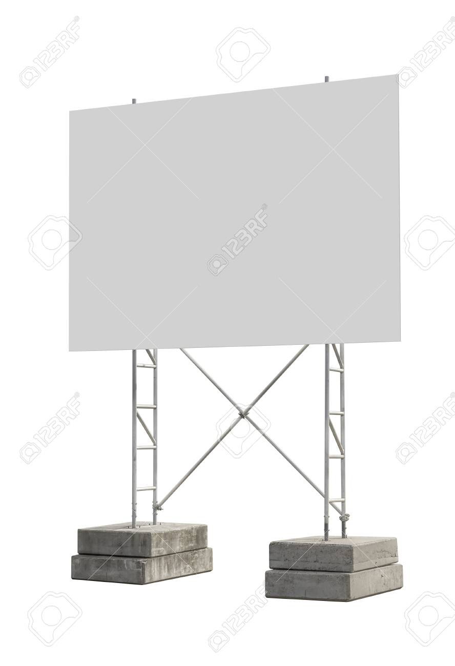 big blank construction sign with stand isolated in white back stock