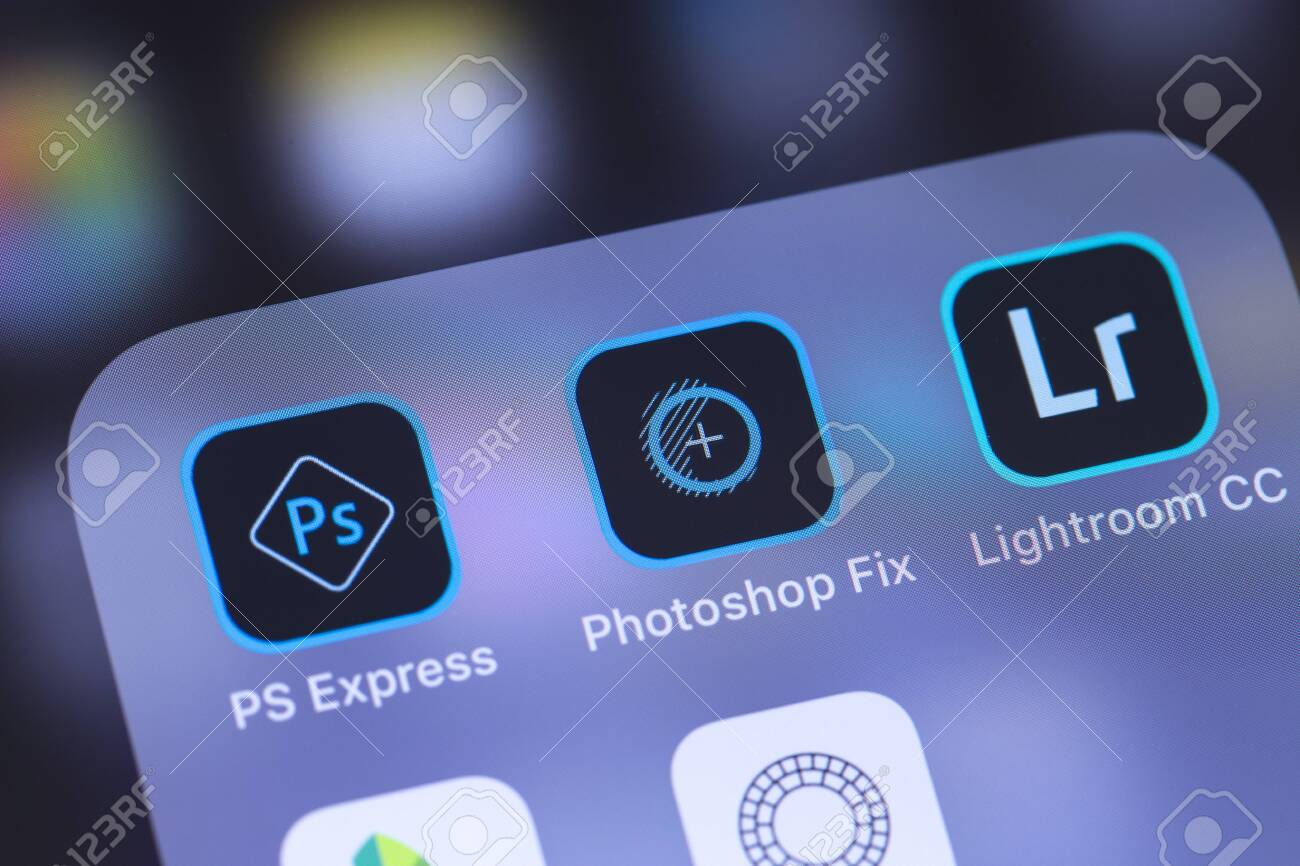Adobe Inc. Mobile Apps Icon On The Screen Smartphone. Adobe ...