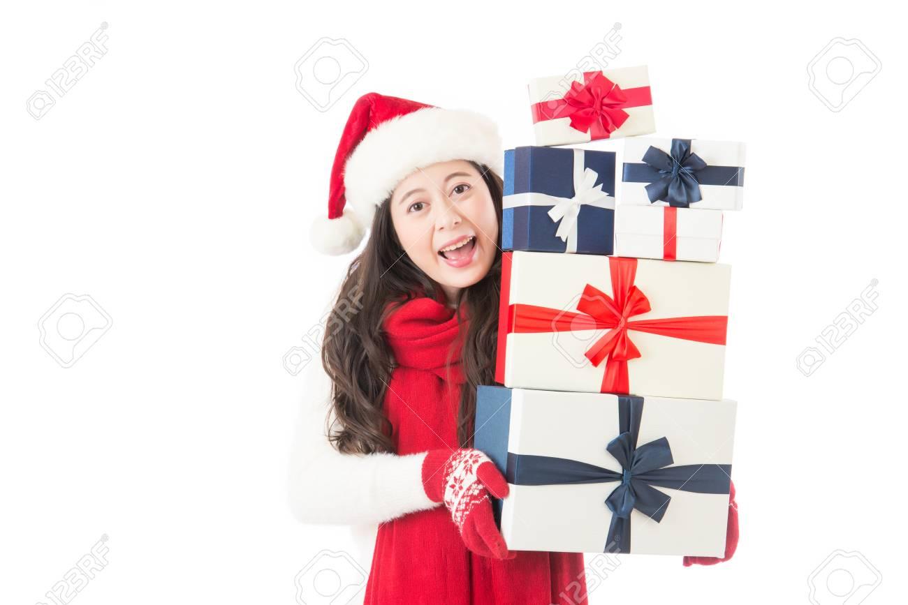 Weihnachten Frau Santa Hut Holding Weihnachtsgeschenke Lächelnd ...