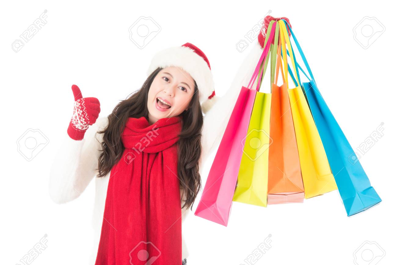 Christmas Sale Woman Happy Shopping Thumbs Up For Good Gifts.. Stock ...