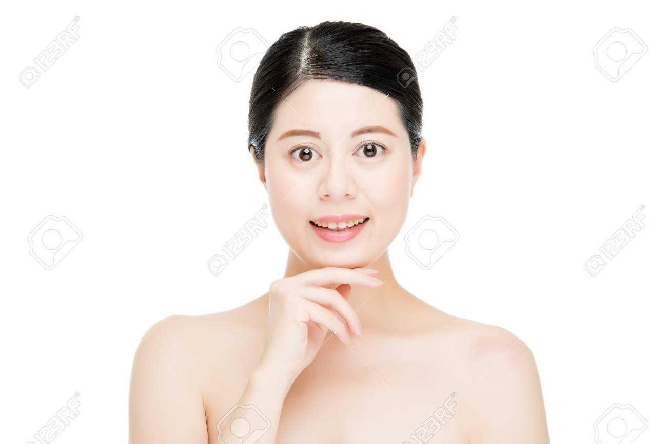 Glückliche Asiatische Frau Modell Finger Touch Perfektes Gesicht
