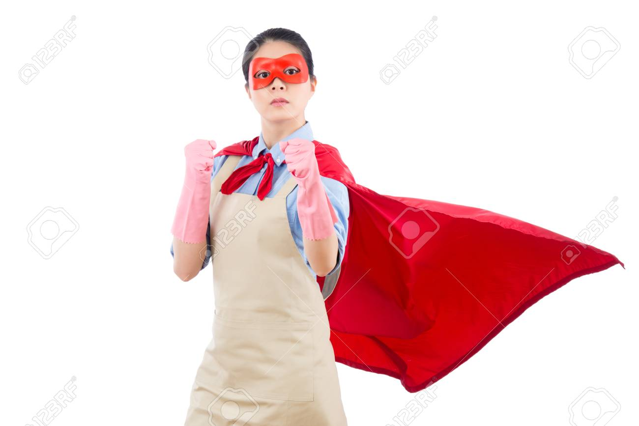 She Is Ready For Fighting For Cleaning House Services With Superhero  Costume Clothing. Isolated On