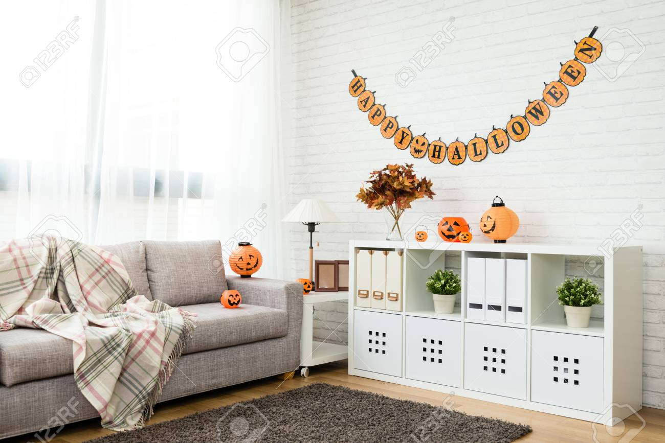 no people Halloween decoration living room for copy space background..