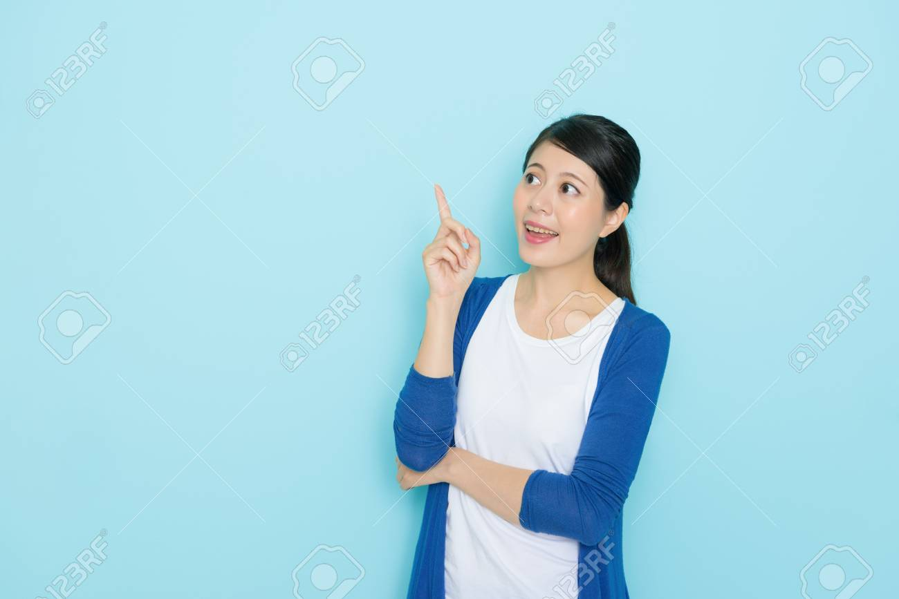 Pretty Beauty Girl Student Having Good Idea About Future Plan And Showing Pointing Gesture Lo Ng At