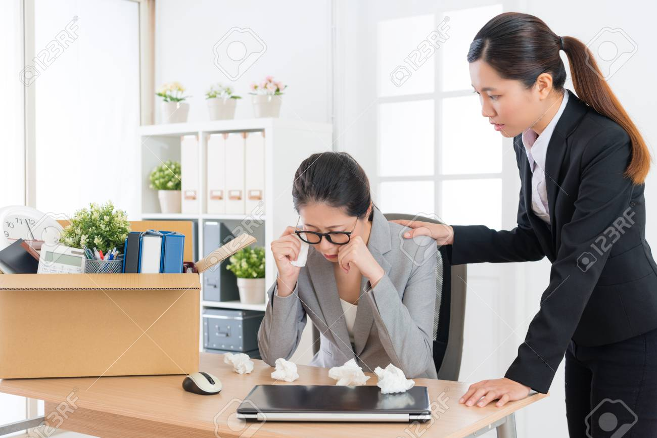 sad depression business woman getting layoff message crying in