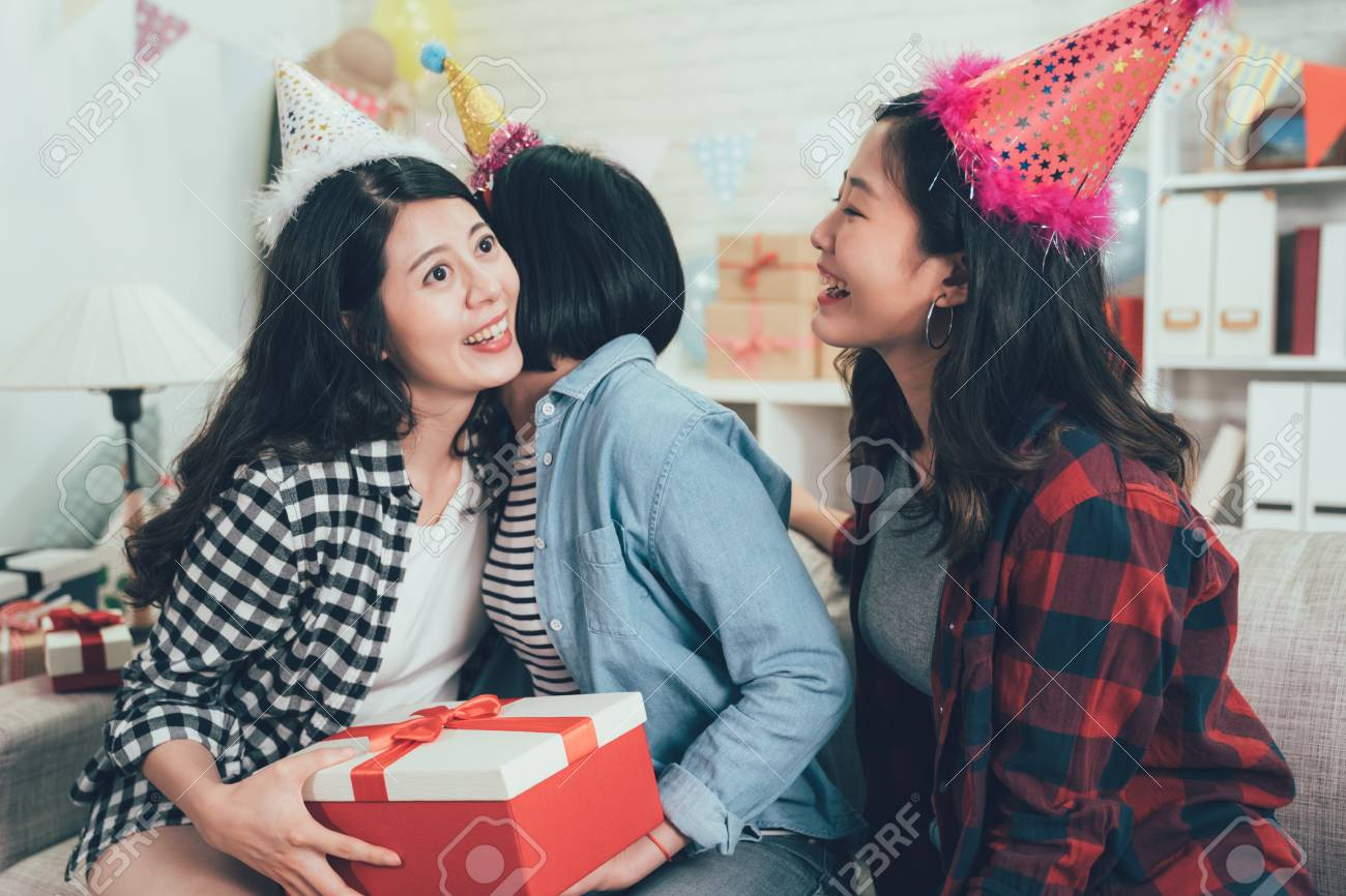 Best Friends Giving Surprise To Girl Sending Gift And Hugging Stock Photo Picture And Royalty Free Image Image 118624954