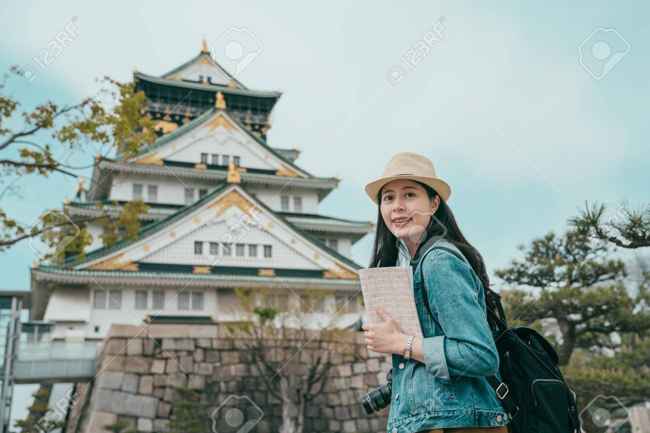 portrait of attractive Japanese tourist woman visiting japan old town and face camera with smiling. - 120478430