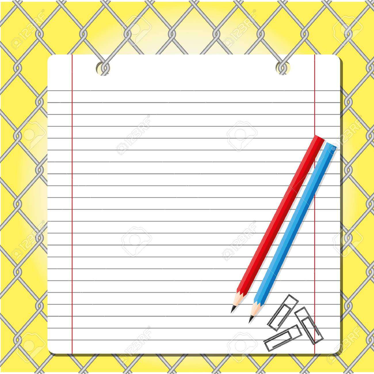 Paper sheet with pencil on  net background. Stock Photo - 11570676