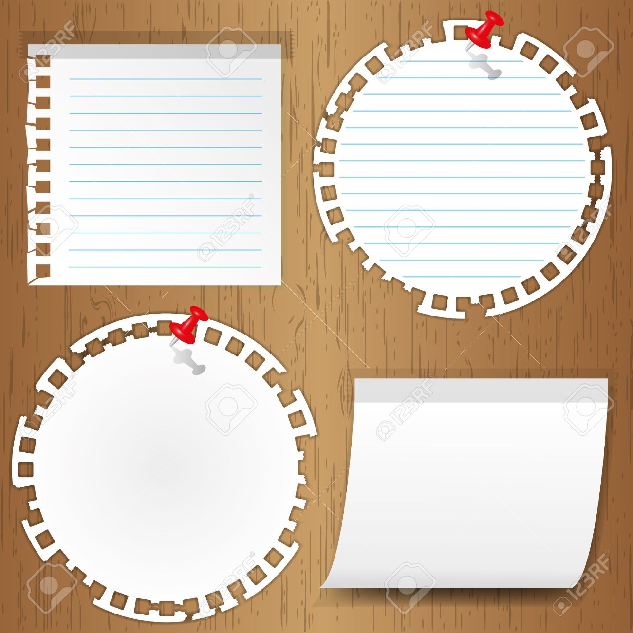sticky note with pin on wooden backgrounds Stock Vector - 11804388