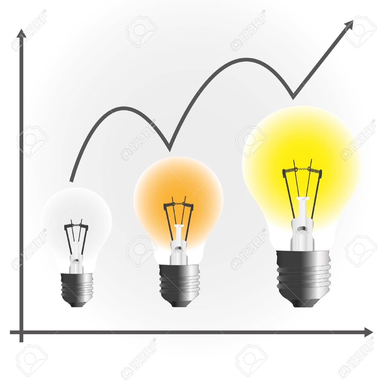Lamp business chart to success. Stock Vector - 11804399