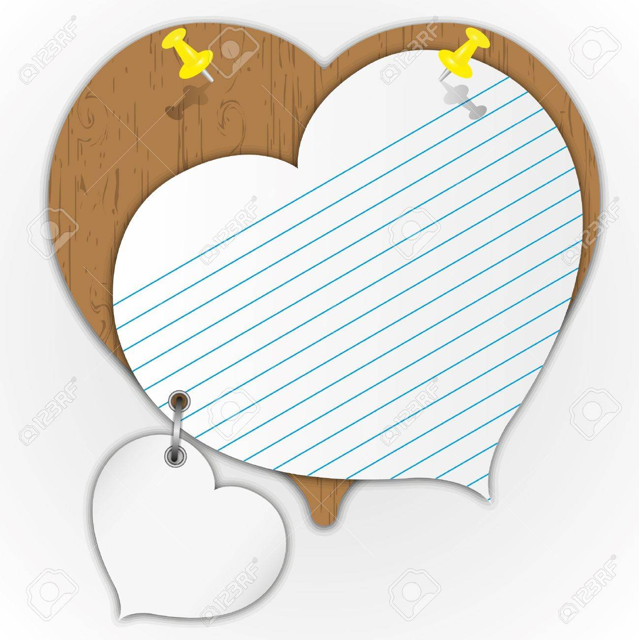 Sticky pad heart pattern on wooden board with pin. Stock Vector - 11872916