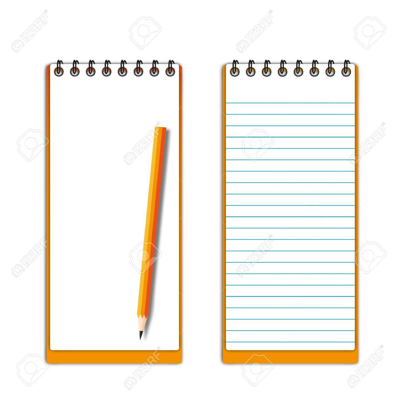 New pocketbook blank page with pencil. Stock Vector - 11932991