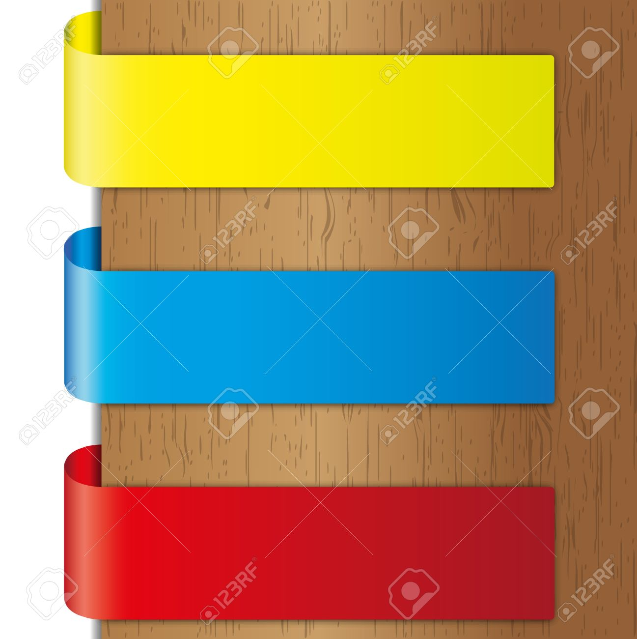 werben tri farben broschüre und aufkleber auf holz hintergründe