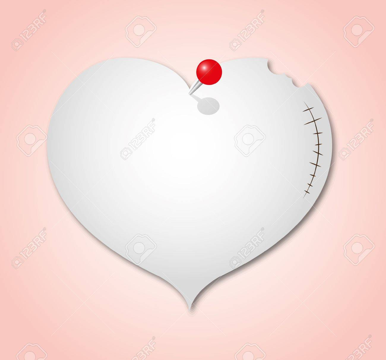 The broken heart paper note with red pin
