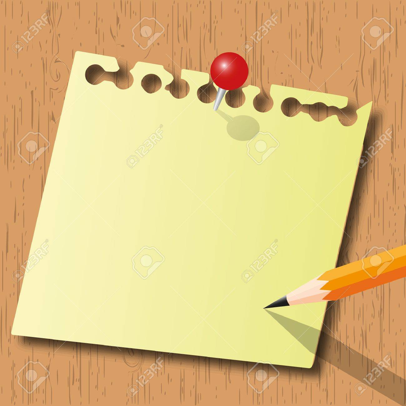 Note pad and pencil with red pin on wood board. Stock Vector - 12035260