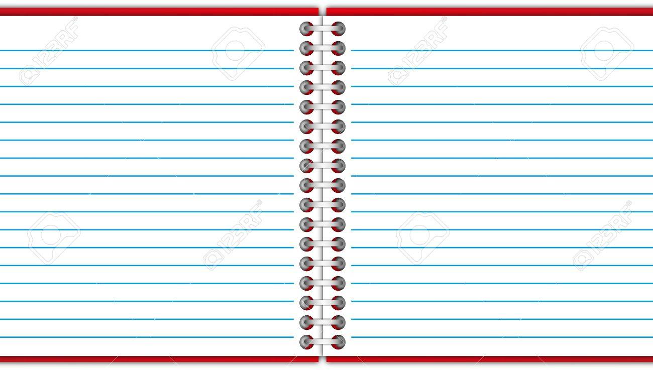 Open paper page and blank space red notebook. Stock Photo - 12350086