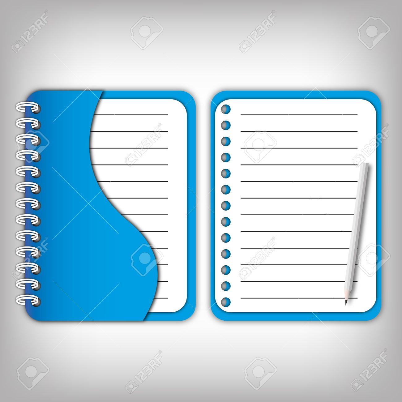 new design cover blue notebook and open page with pencil stock photo 12350171