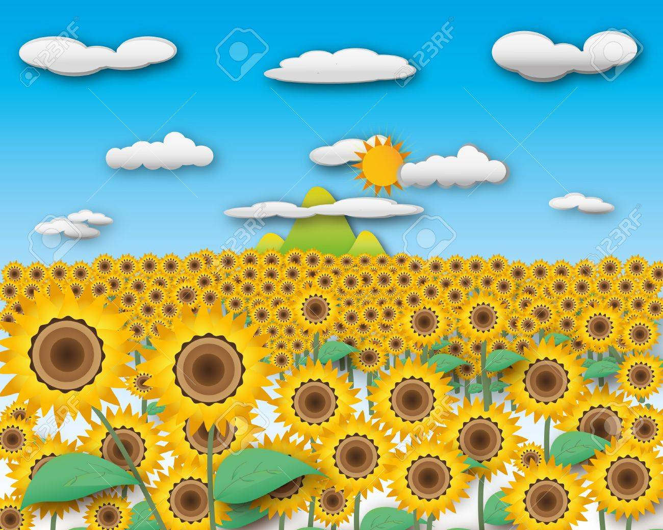 Sunflower field and landscape mountain in cloudy sky with sunny. Stock Photo - 12350184