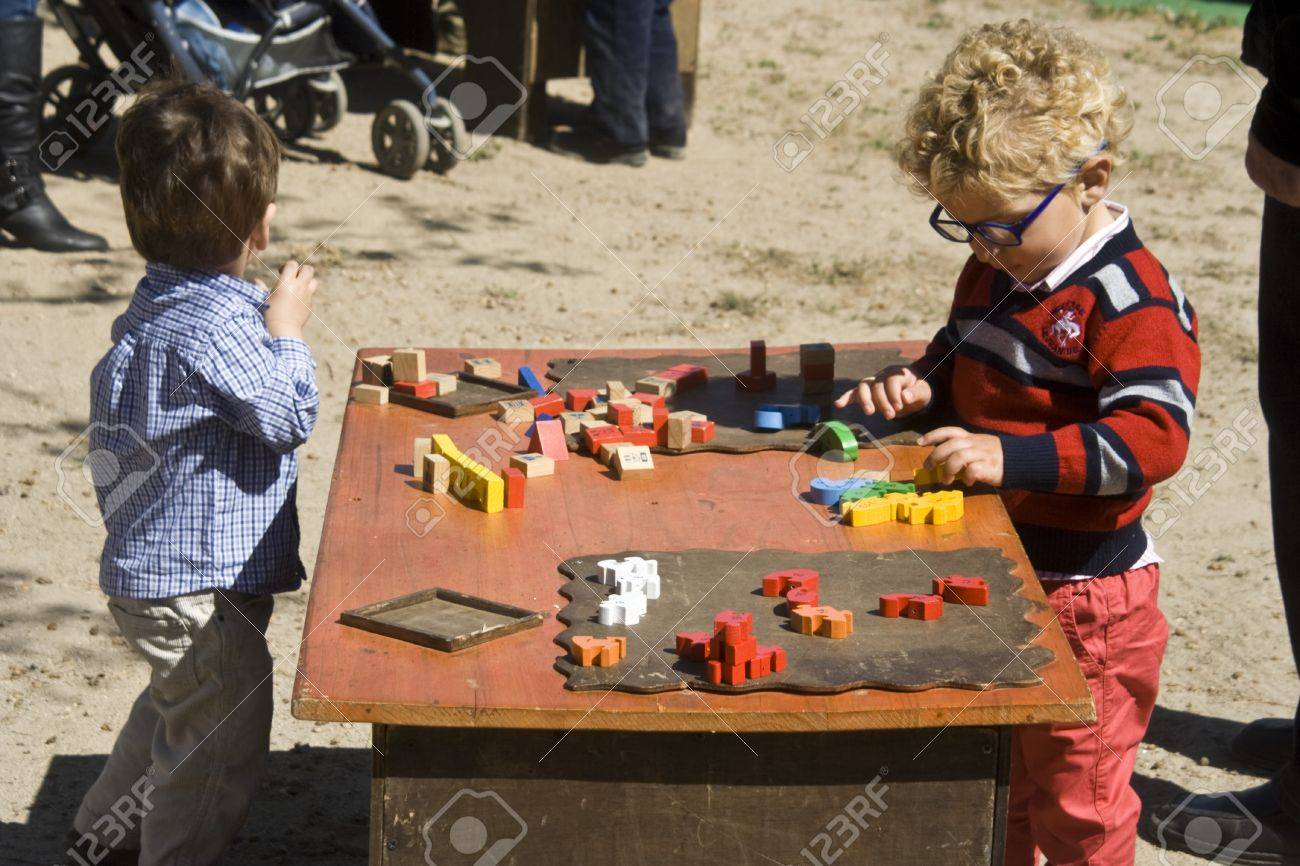Children playing, Medieval Market Oropesa, Toledo,  22/04/20112  Stock Photo - 13266991