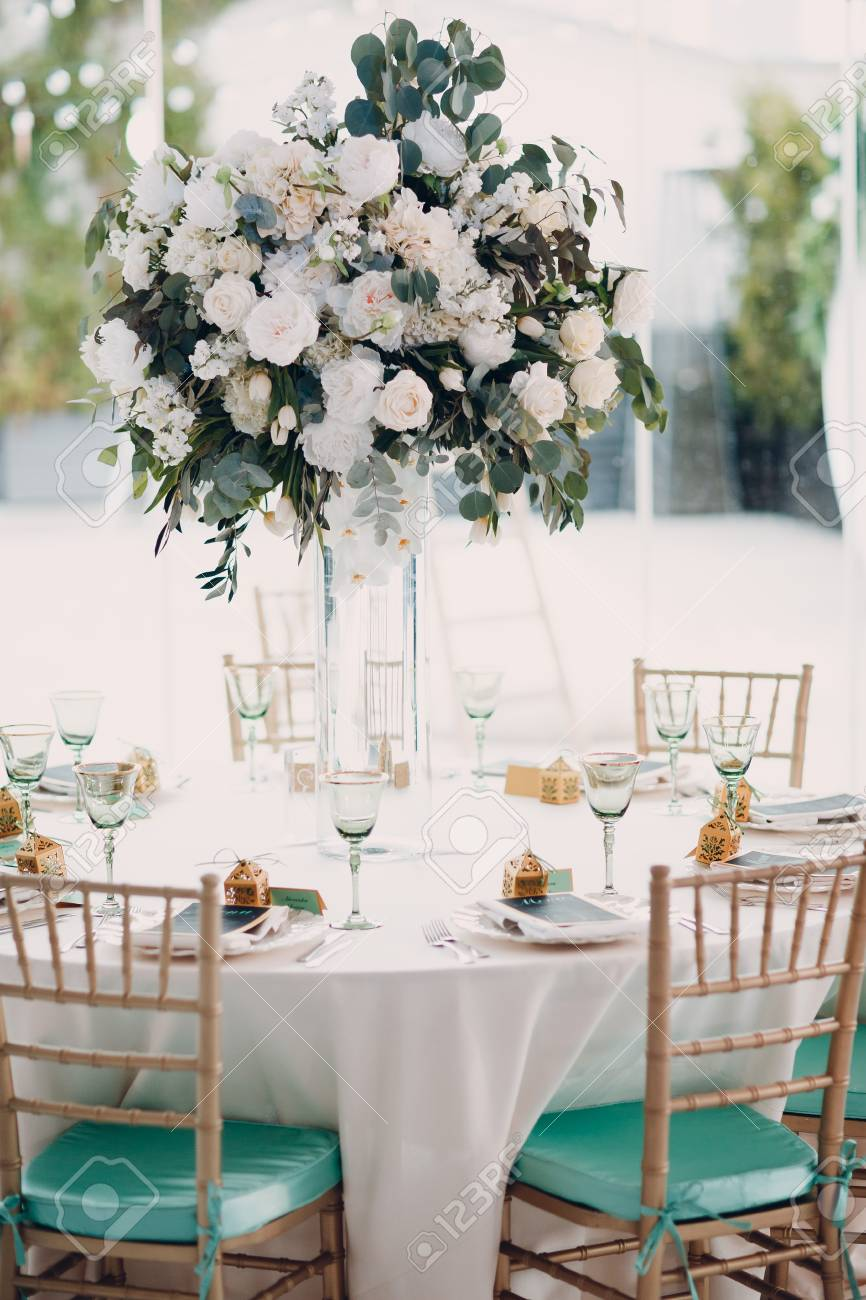 Wedding Decor In Green White Tones Stock Photo, Picture And Royalty ...