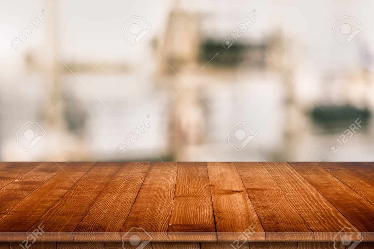 Empty Wooden Table Perspective For Product Stock Photo Picture And