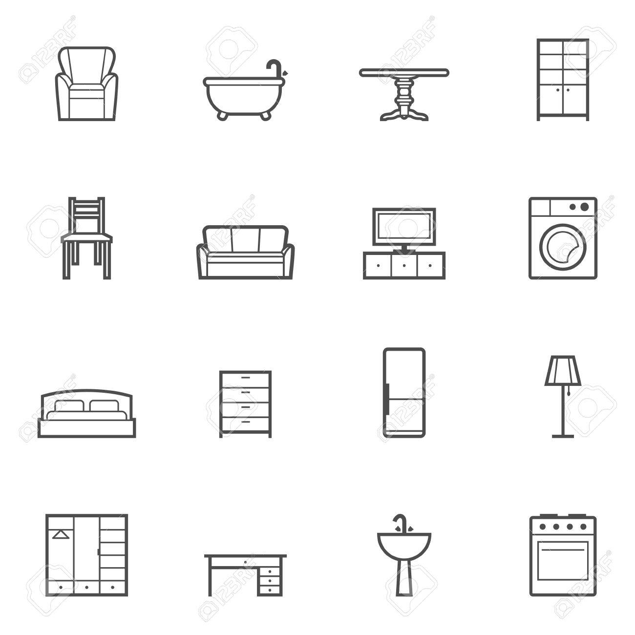 Contour Home Furniture Isolated Icons Set. Vector Illustration ...