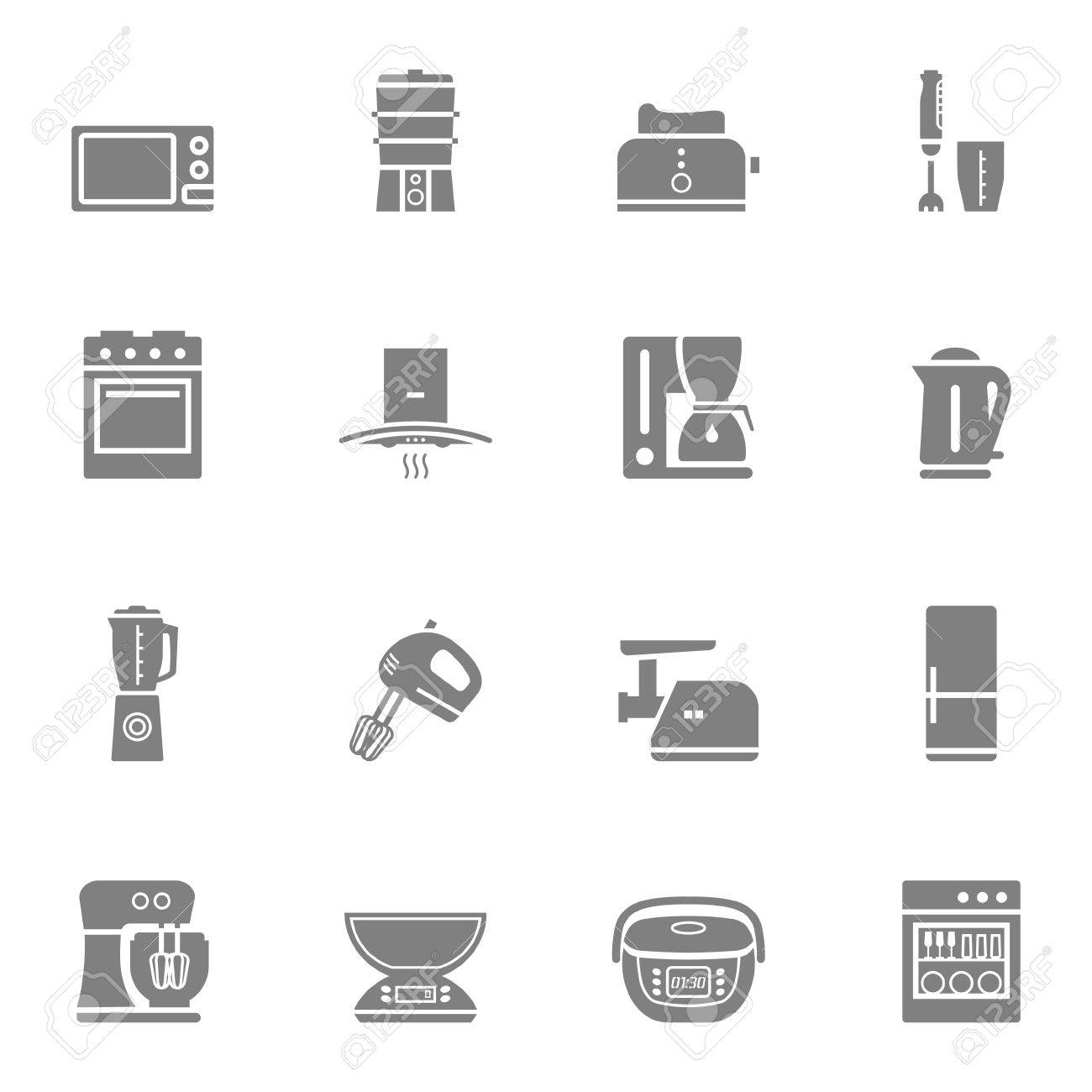 Household Kitchen Appliances Vector Silhouette Isolated Icon