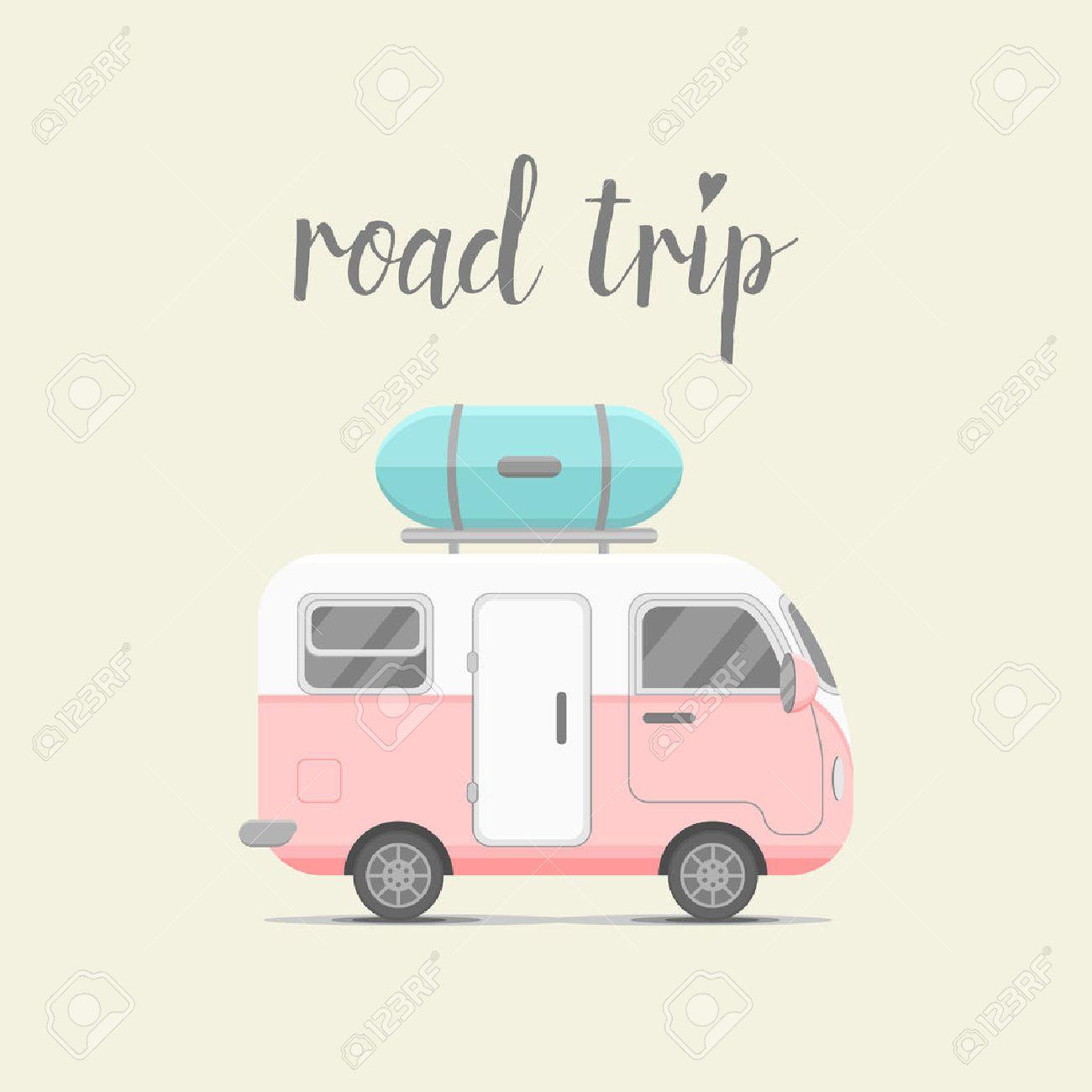 Remorque Caravane Avec Boite De Bagages Mobil Home Illustration