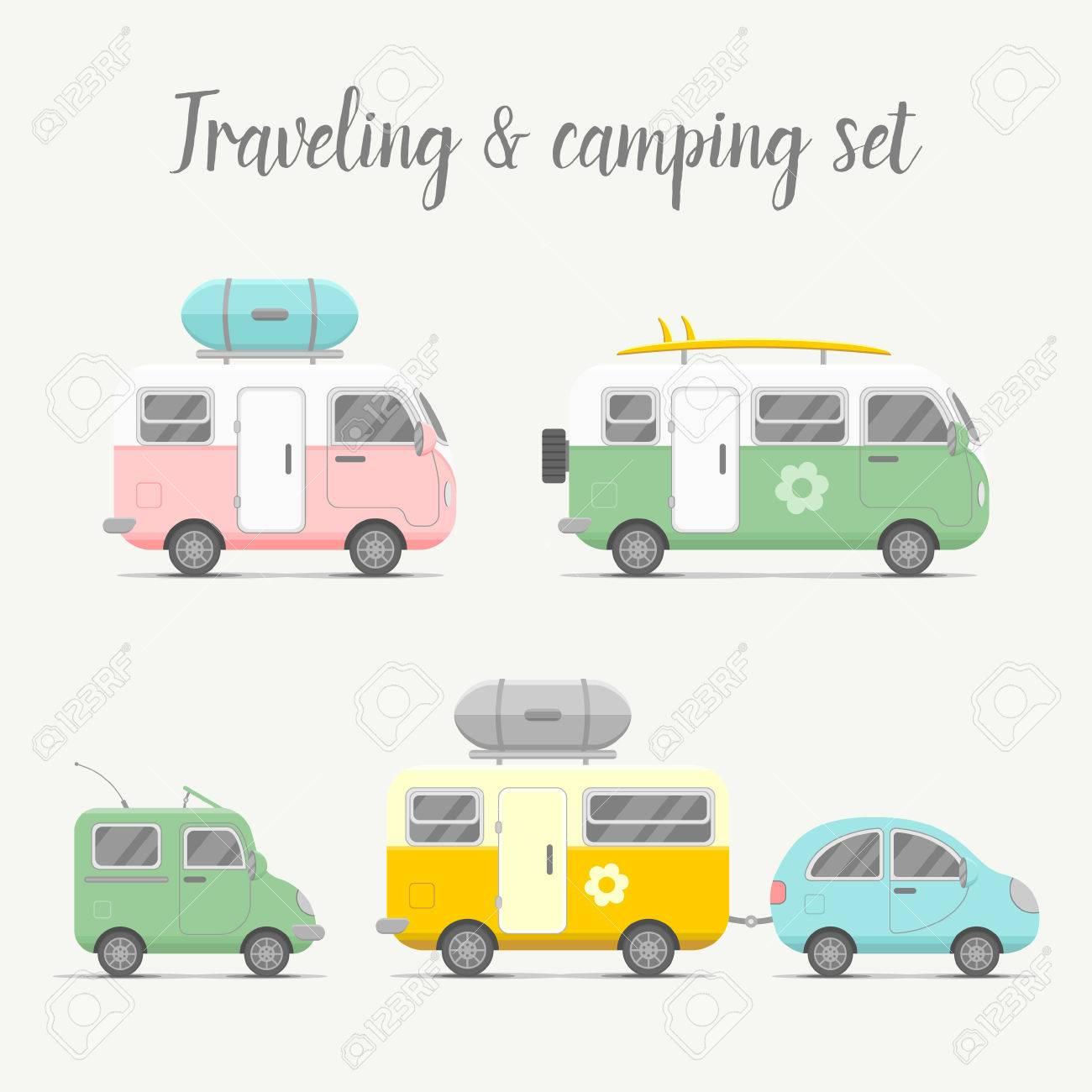 Transport Caravan And Trailer Set Mobile Home Types Illustration Traveler Truck Flat Icon