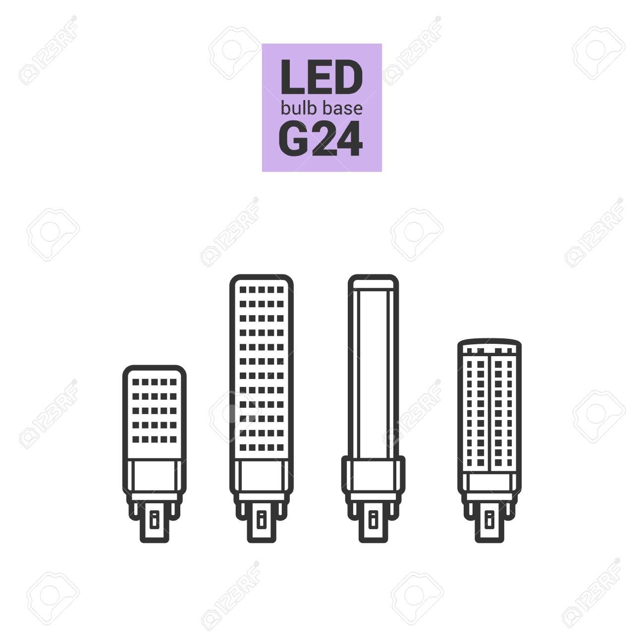 Lampadine Led G24.Led Light Bulbs With G24 Base Vector Outline Icon Set On White