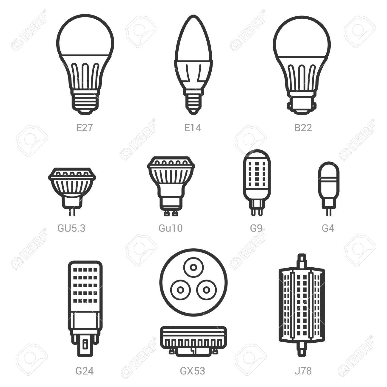 light on outline background LED set vector white icon bulbs lamp ulwkTiOPZX