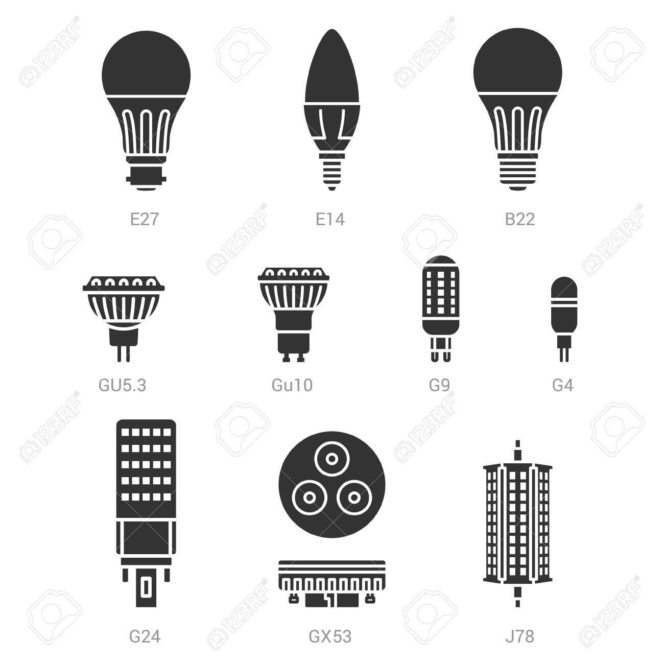 Set Silhouette Fond Icône Sur Lampe Blanc Ampoules Vecteur Lumière Led lTJc1KF