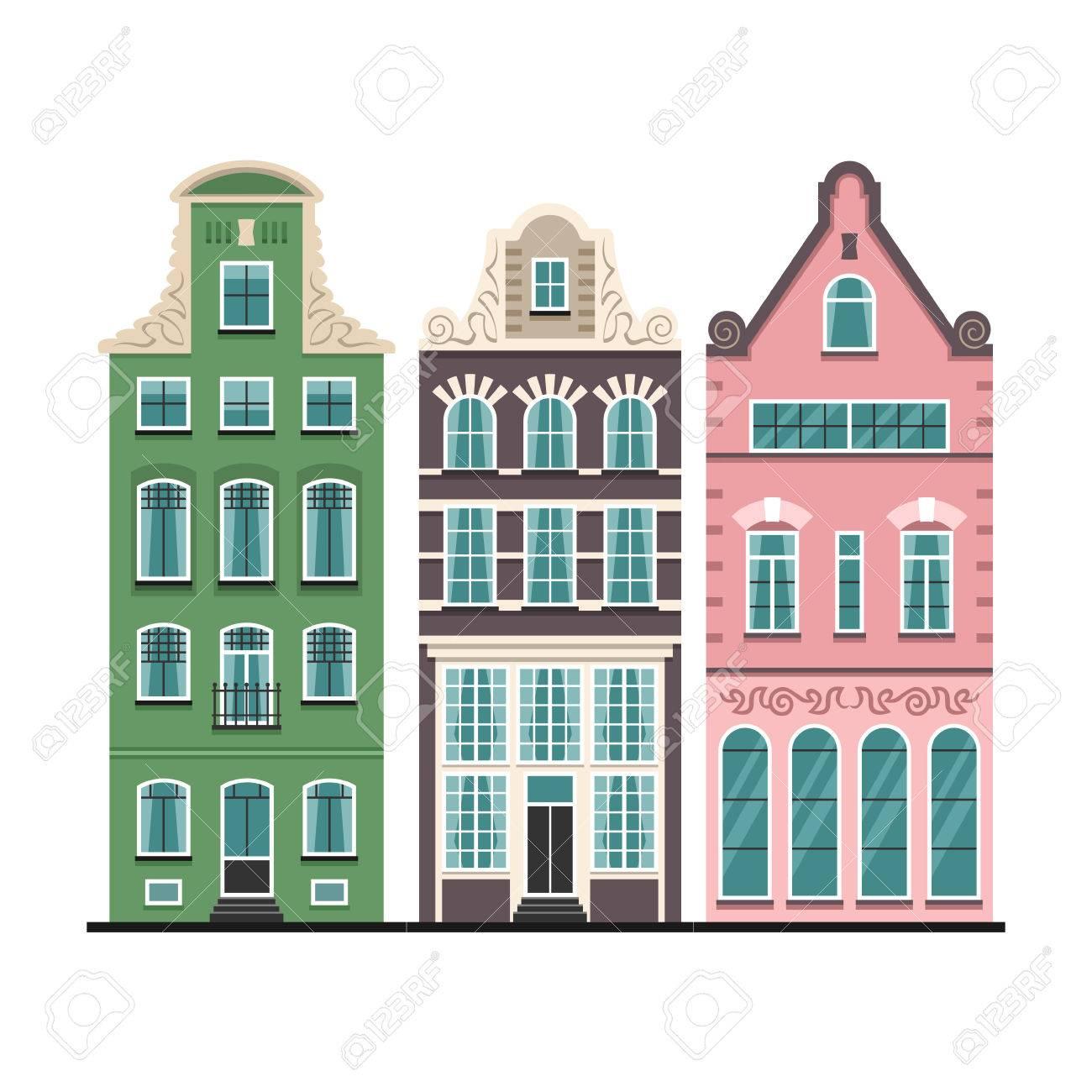 Ensemble de 3 façades de dessin animé de vieilles maisons d\'Amsterdam.  Architecture traditionnelle des Pays-Bas. Des illustrations isolées plates  ...
