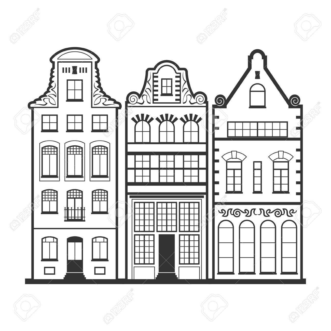 Conjunto De 3 Casas Antiguas De ámsterdam Fachadas Arquitectura Tradicional De Países Bajos Línea De Estilo Blanco Y Negro De Vector Planos